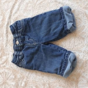 2/$15 - old Navy fleece lined jeans 0-3 mths (507)